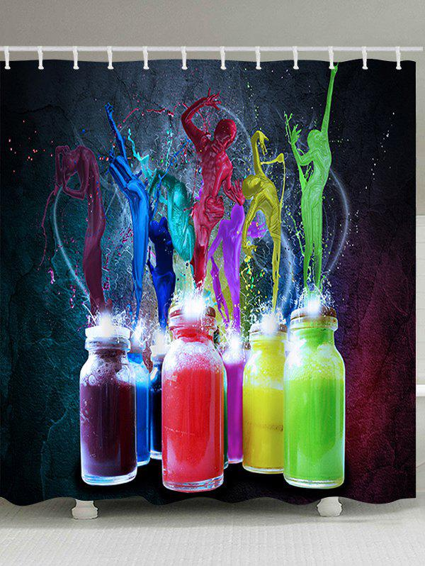 Bottle Colorful Paint Splatter Print Waterproof Bath Curtain - COLORFUL W71 INCH * L79 INCH