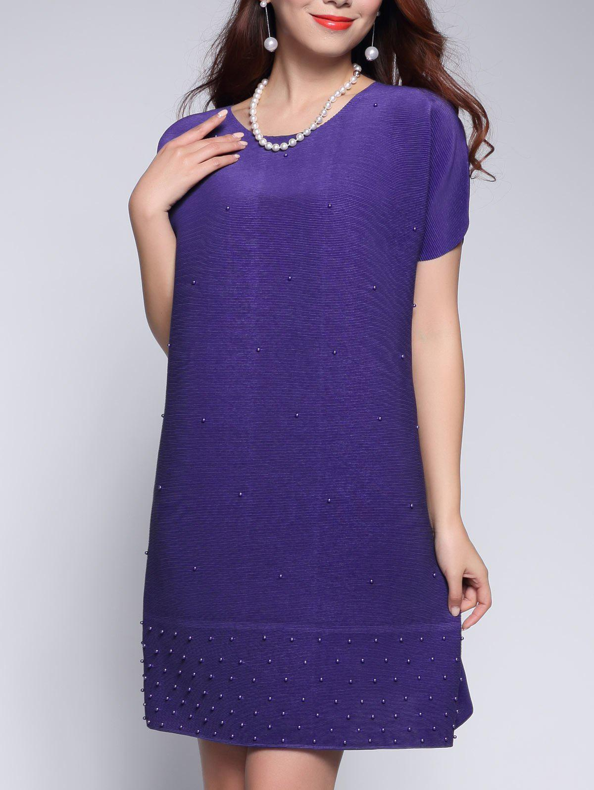 Beaded Petal Sleeve Mini Dress - PURPLE ONE SIZE