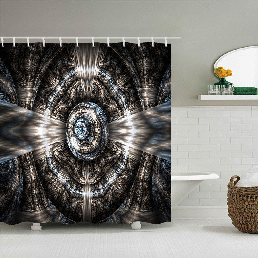 Fractal Art Graphic Polyester Waterproof Shower Curtain - COLORMIX W71 INCH * L71 INCH