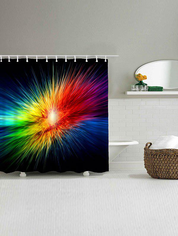 Abstract Colorful Light Waterproof Bath Curtain - COLORFUL W71 INCH * L79 INCH