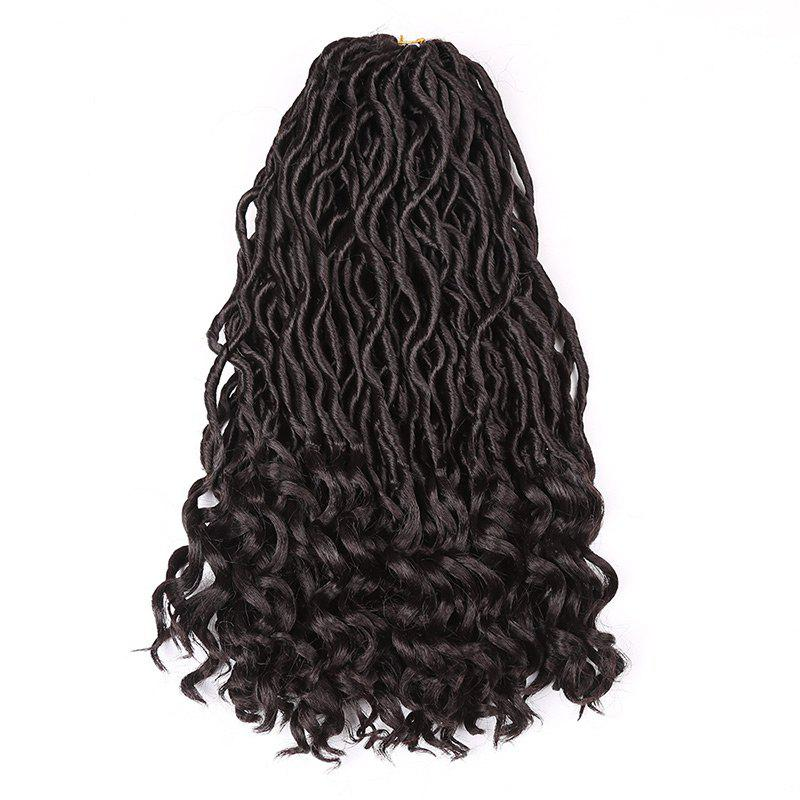 Medium Crochet Dreadlocks Braided Wavy Synthetic Hair Extension - BLACK BROWN