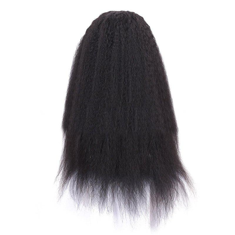 Long Center Parting Fluffy Afro Lace Front Synthetic Wig - BLACK