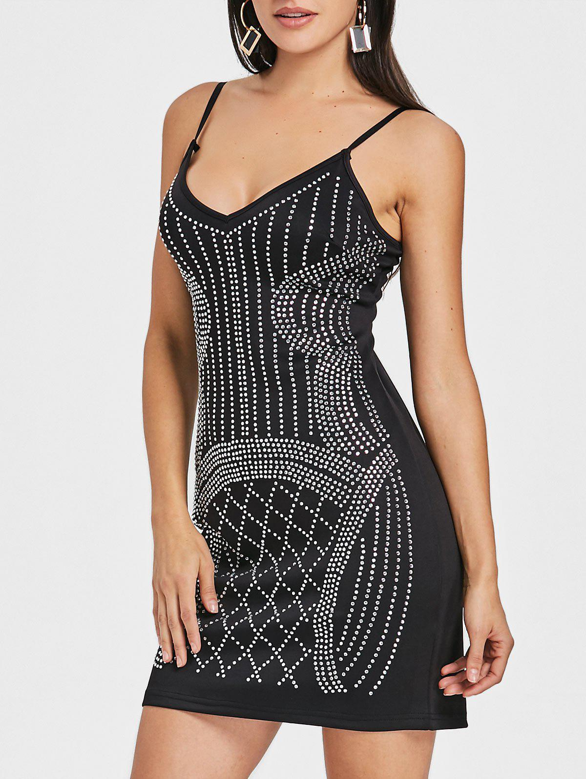 Rhinestone Spaghetti Strap Mini Dress - BLACK L