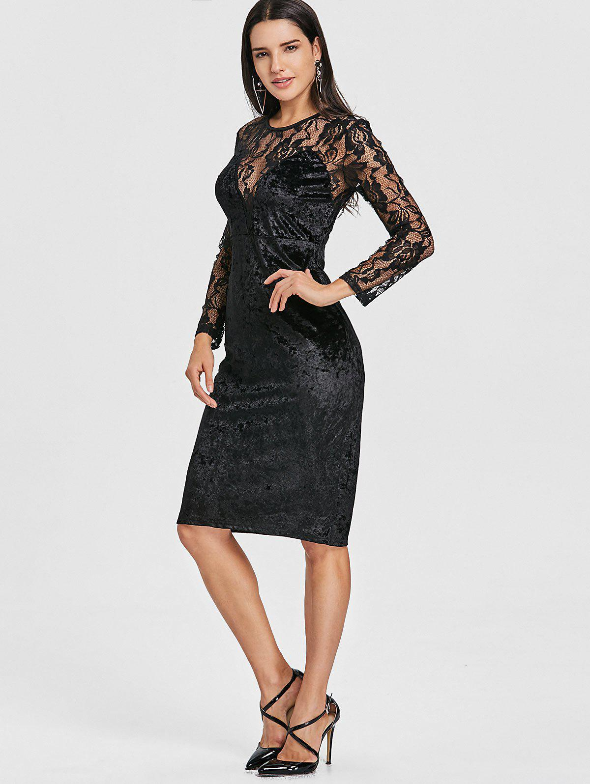 Lace Panel Velvet Pencil Dress - BLACK S
