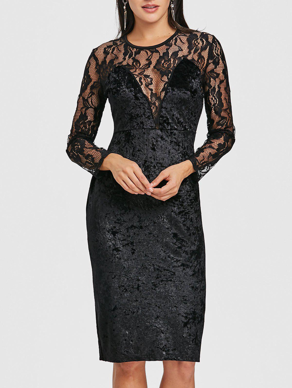 Lace Panel Velvet Pencil Dress - BLACK XL