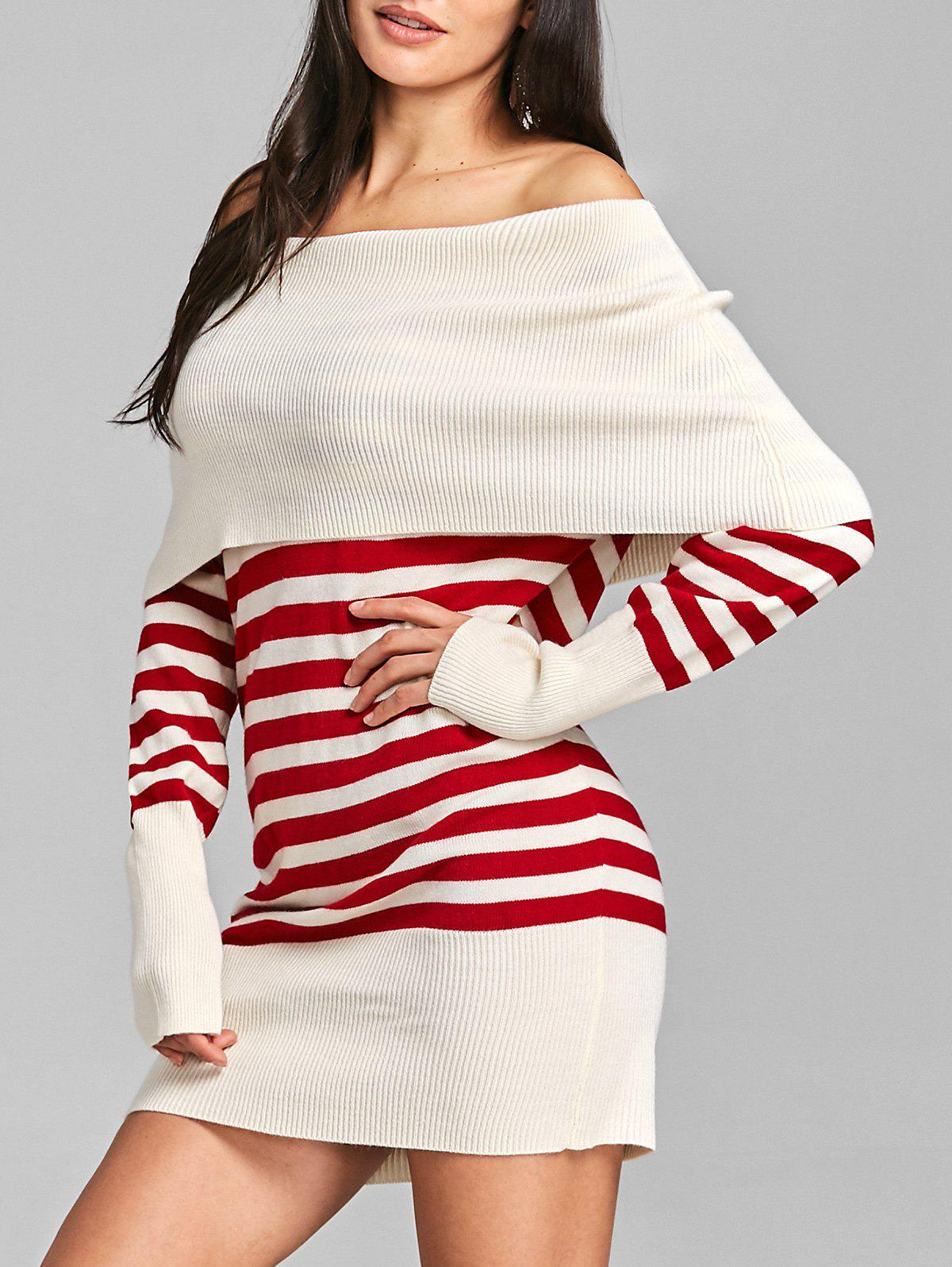 Longline Off The Shoulder Striped Sweater - RED ONE SIZE