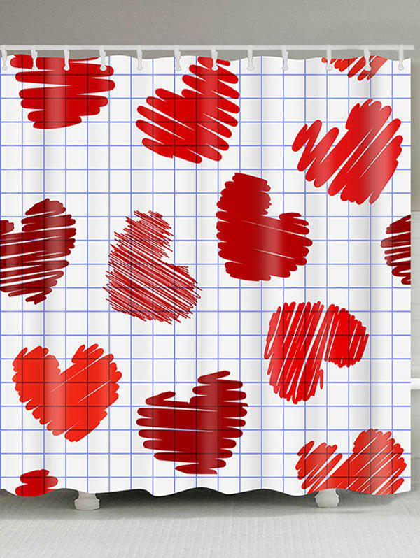 Фото #1: Valentine's Day Checks and Heart Printed Waterproof Shower Curtain