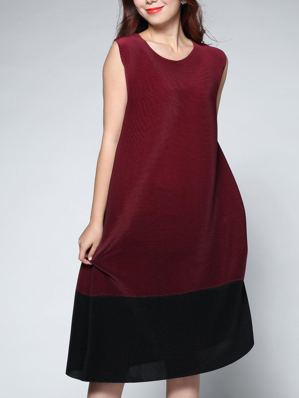 Sleeveless Contrast Color Midi Dress - CLARET ONE SIZE