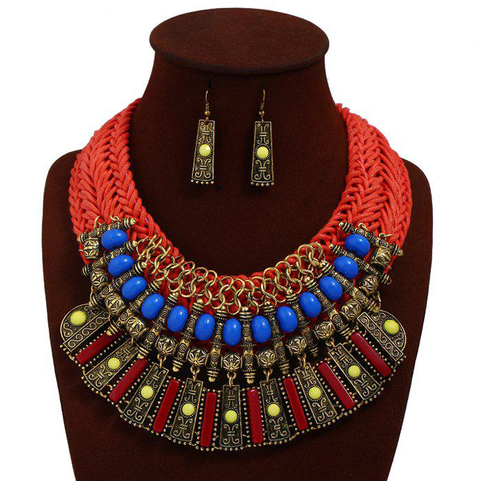 Statement Alloy Crochet Earrings and Necklace - RED