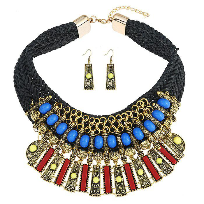 Statement Alloy Crochet Earrings and Necklace
