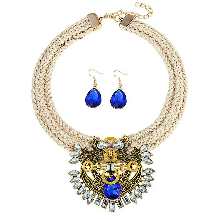 Faux Sapphire Rhinestoned Teardrop Jewelry Set - BLUE
