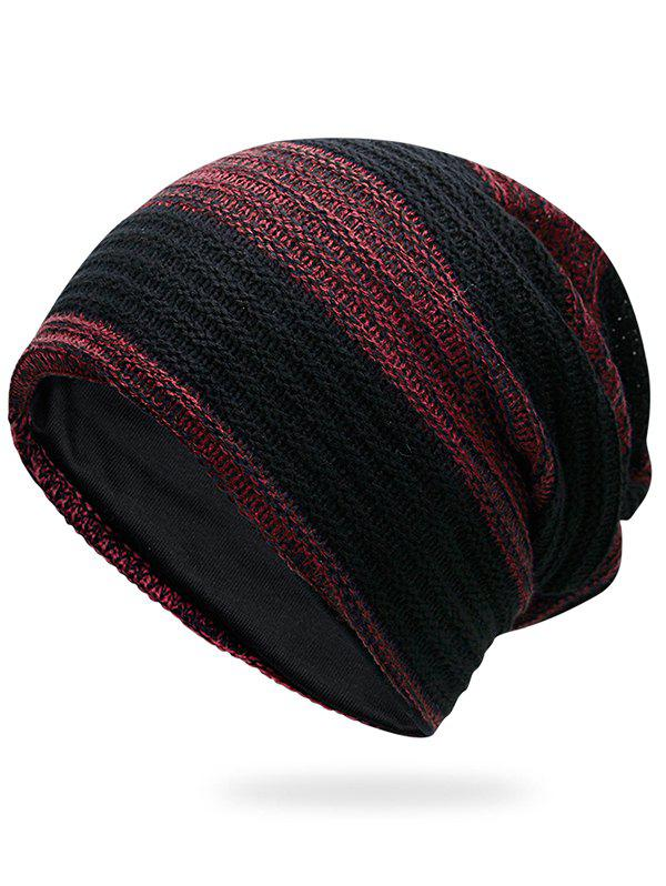 Simple Striped Pattern Slouchy Knitted Beanie - DEEP RED