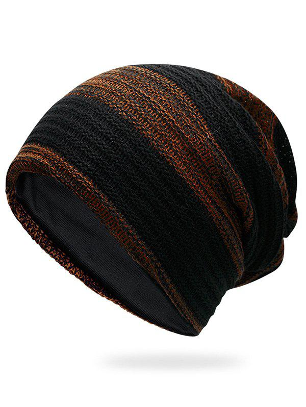 Simple Striped Pattern Slouchy Knitted Beanie - PEARL KUMQUAT