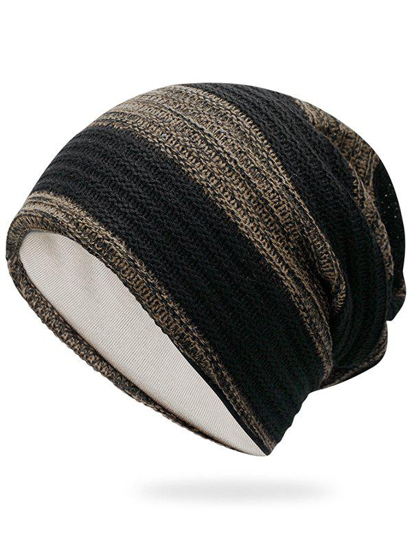 Simple Striped Pattern Slouchy Knitted Beanie - KHAKI