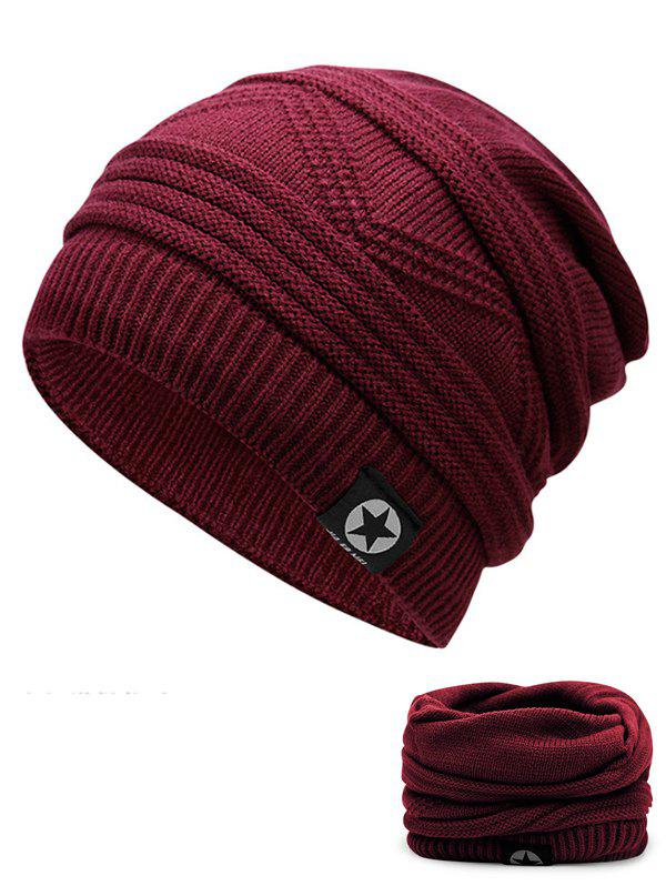 Multipurpose Empty Top Decorated Slouchy Knitted Beanie - WINE RED