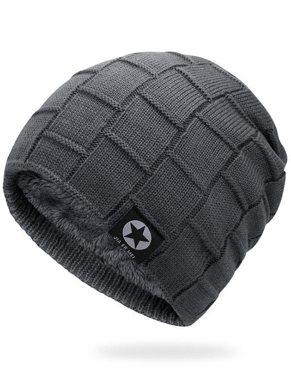 Simple Checkered Pattern Embellished Thicken Beanie - GRAY