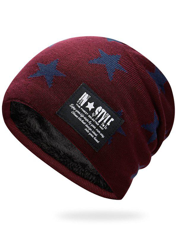 Simple Star Pattern Decorated Thicken Knitted Slouchy Beanie - WINE RED