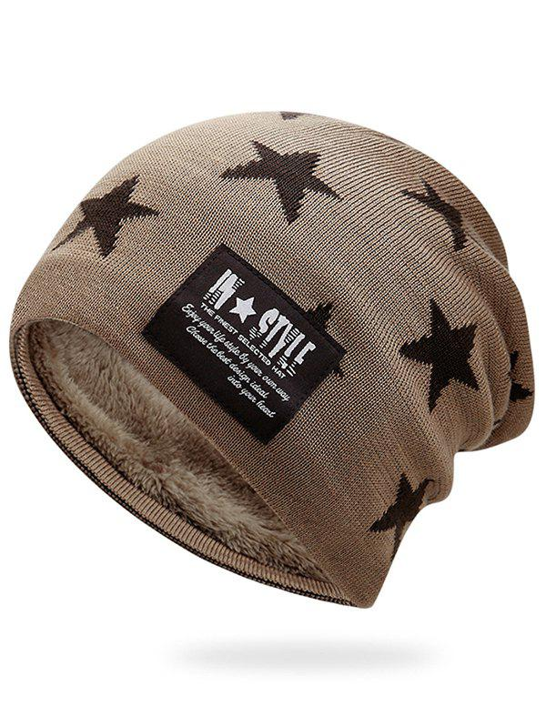 Simple Star Pattern Decorated Thicken Knitted Slouchy Beanie - KHAKI