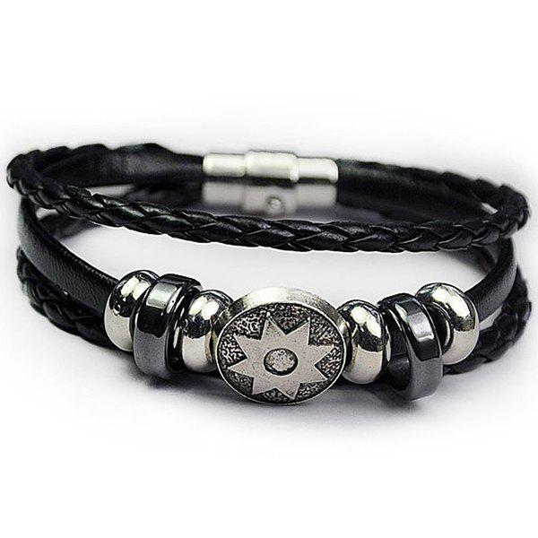 Artificial Leather Rope Braid Engraved Sun Bracelet artificial leather rope round collarbone necklace