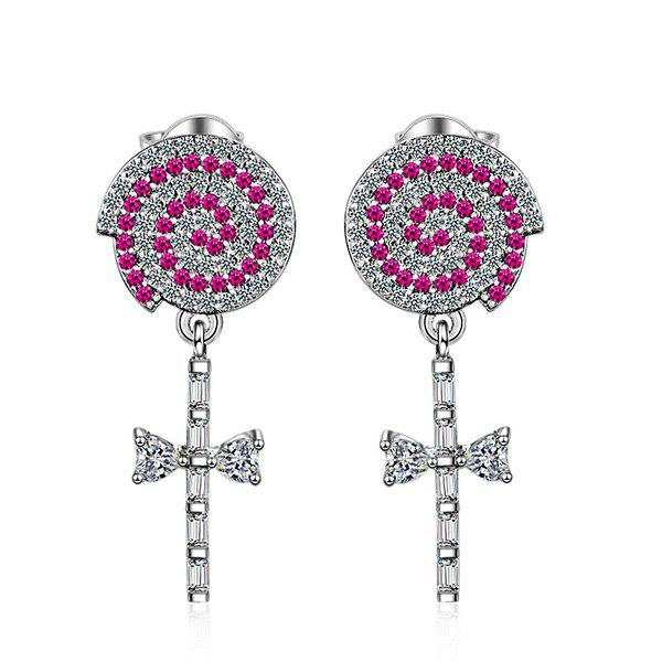 Rhinestone Key Earrings - SILVER