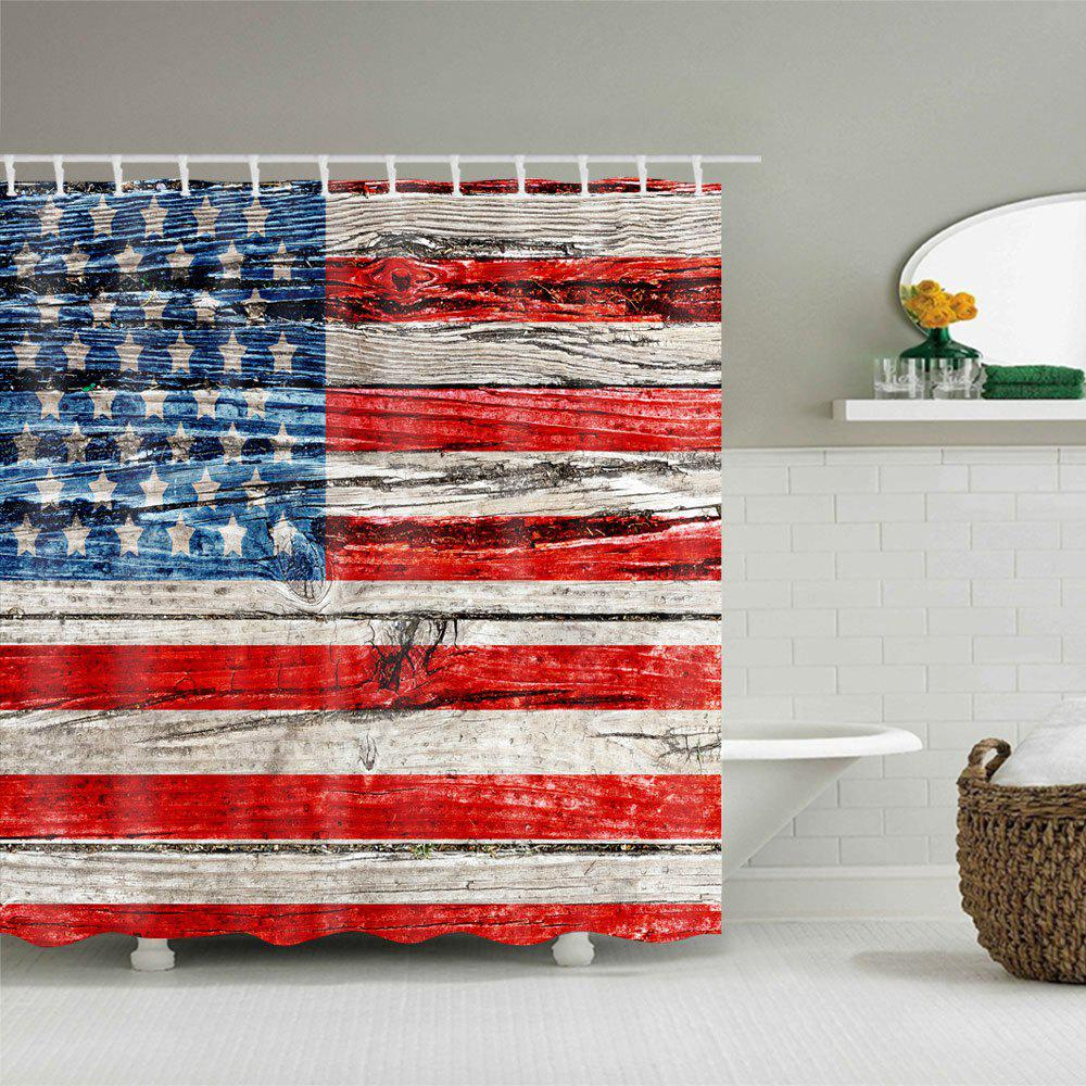 American Flag Print Waterproof Polyester Bath Curtain - COLORMIX W71 INCH * L79 INCH