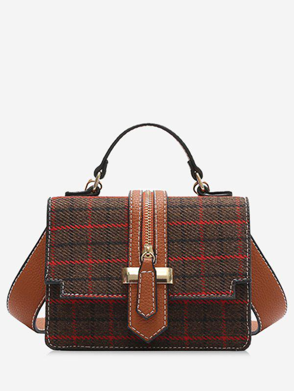 Tweed Checkered Crossbody Bag - COFFEE