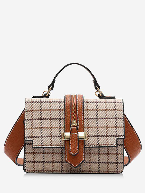 Tweed Checkered Crossbody Bag - BEIGE
