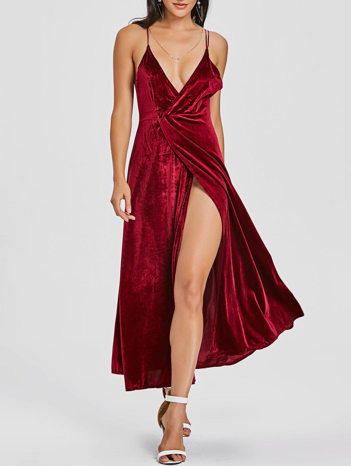 Backless High Slit Velvet Maxi Dress maxi front slit crushed velvet tank dress