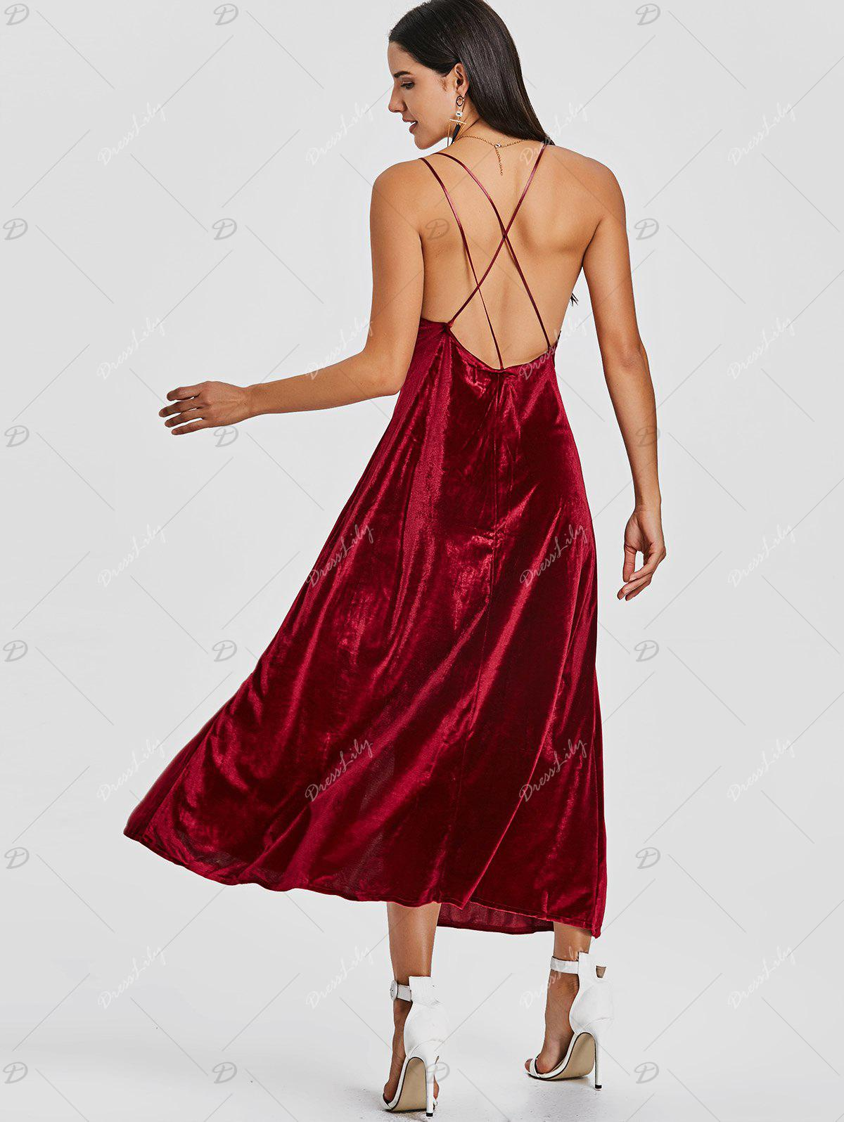 Backless High Slit Velvet Maxi Dress - WINE RED M