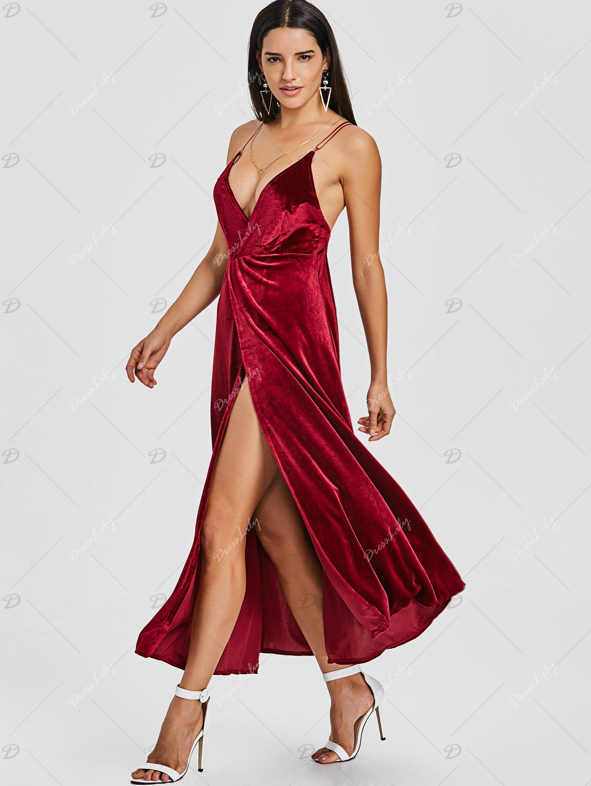 Backless High Slit Velvet Maxi Dress - WINE RED XL