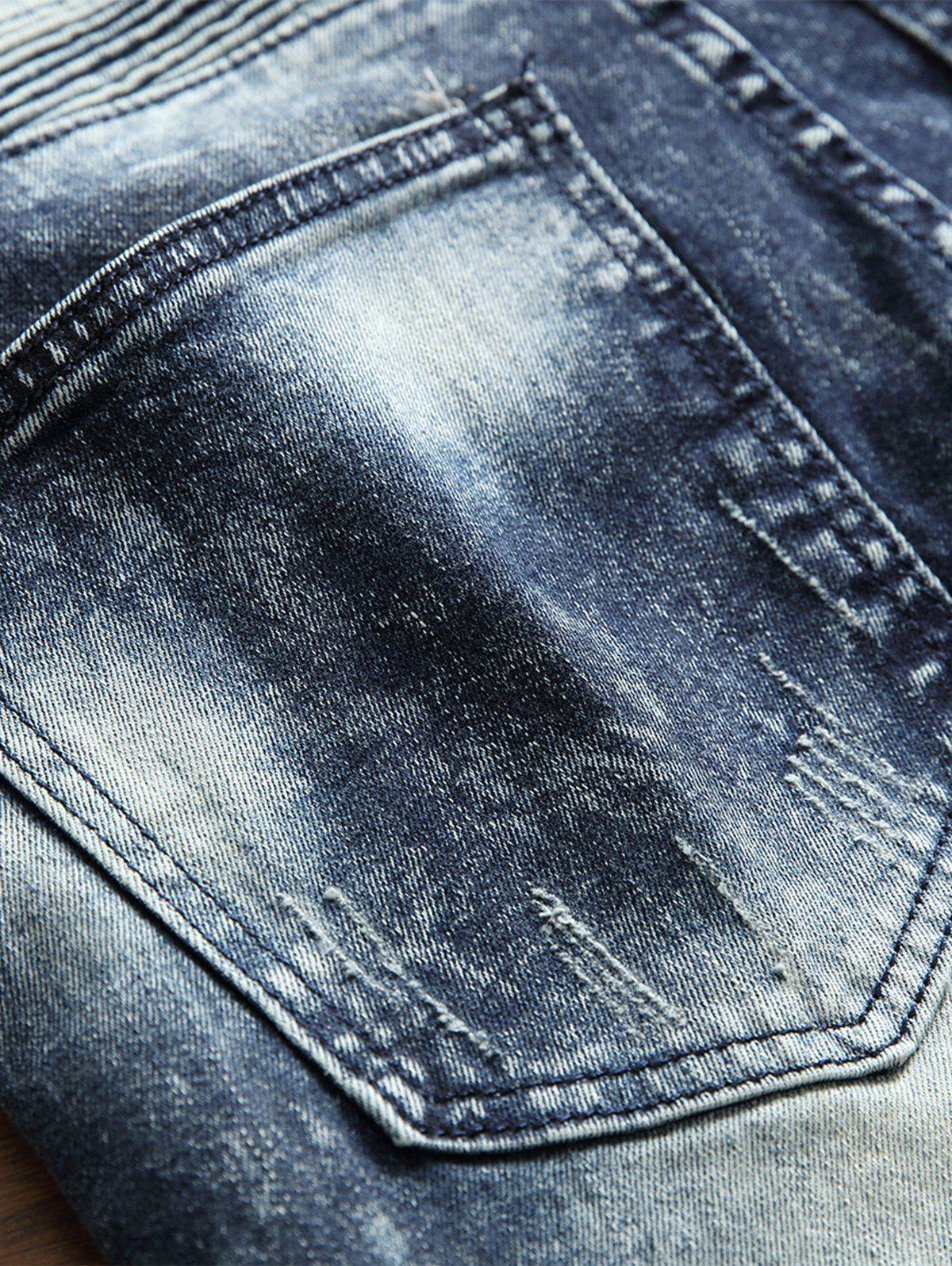 Zippers Patch Accordion Pleat Ripped Jeans - DENIM BLUE 36