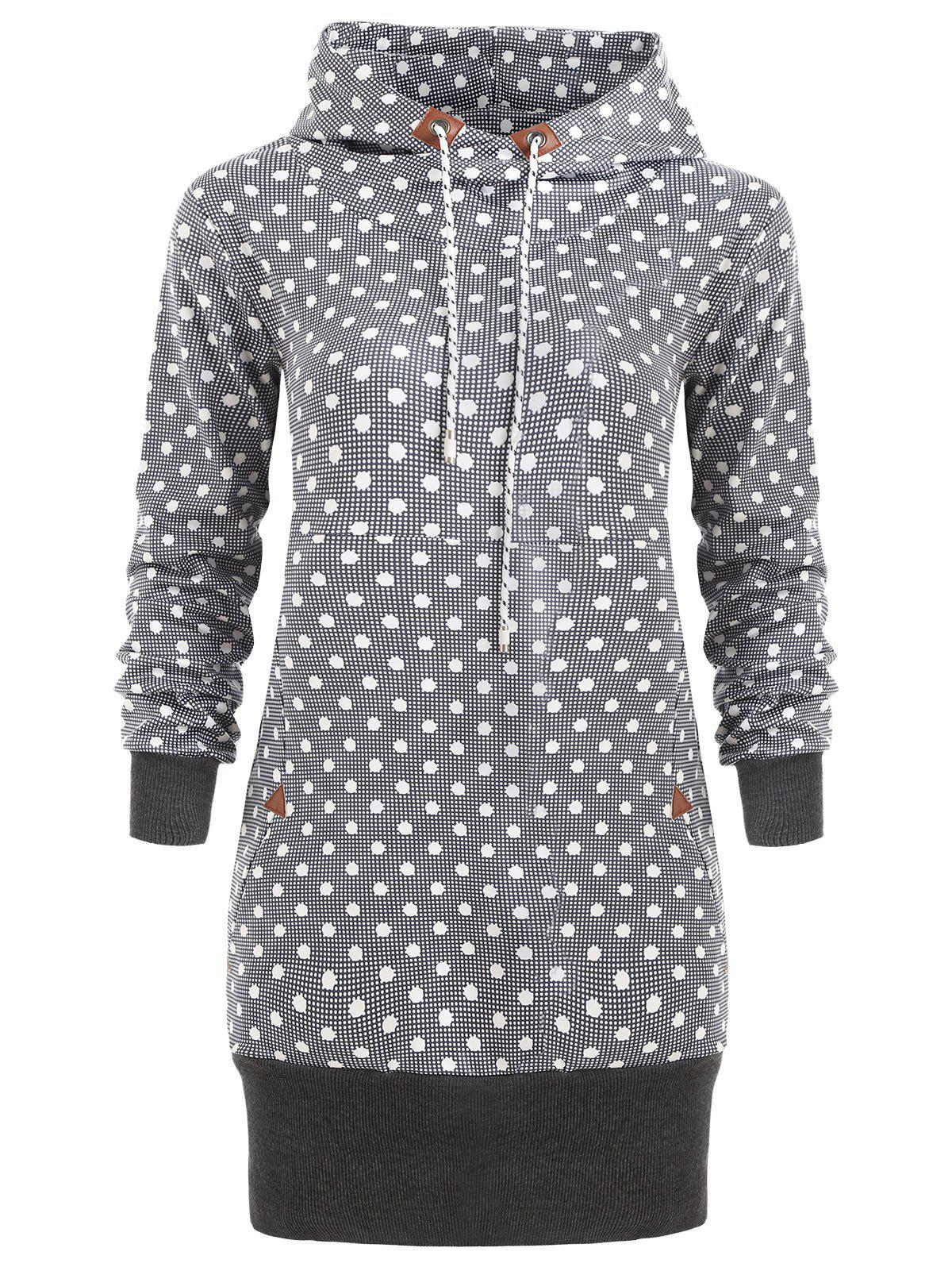 Polka Dot Drawstring Tunic Hoodie - DARK GRAY L