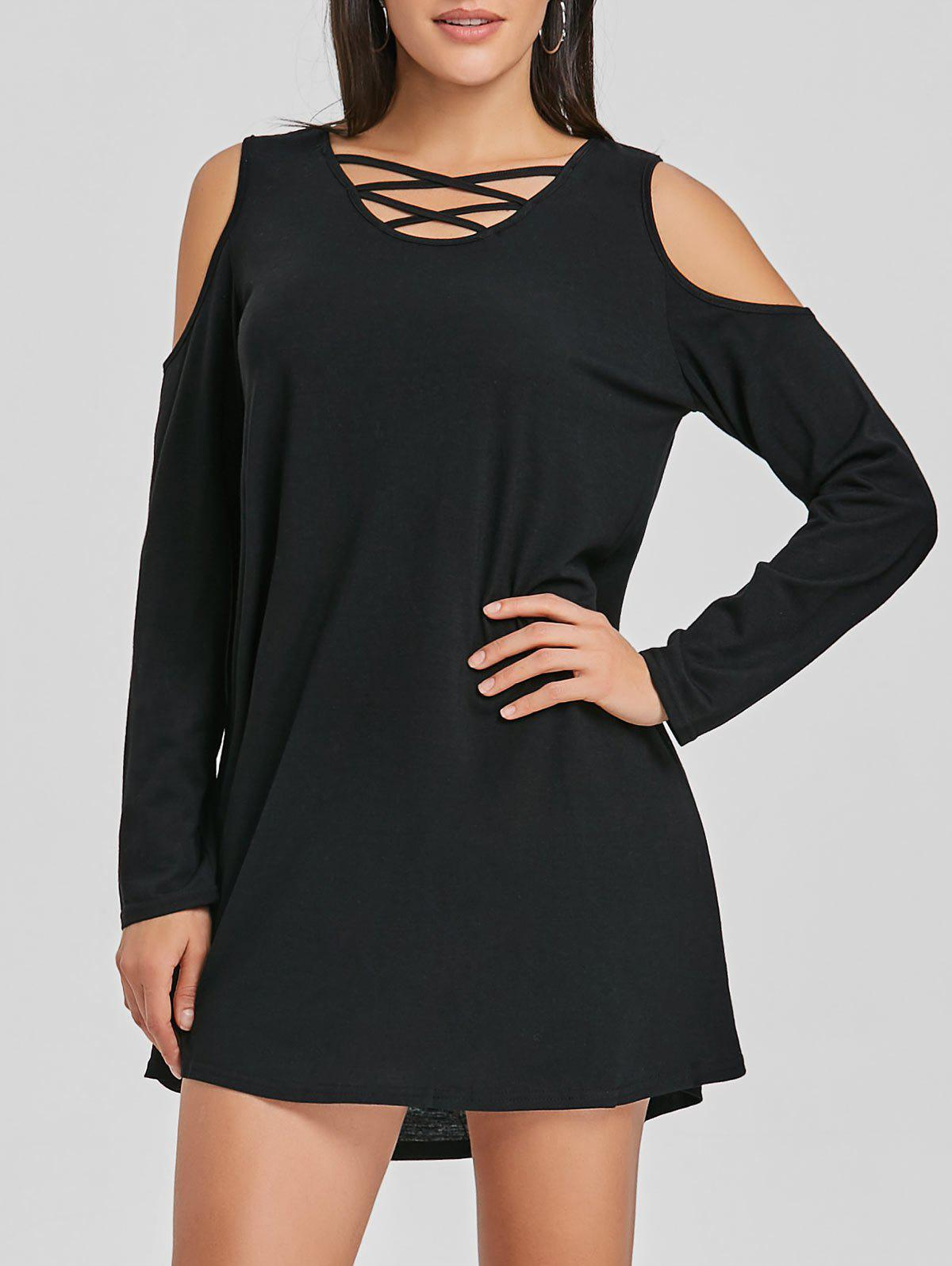 Criss Cross Cold Shoulder Mini Shift Dress - BLACK XL