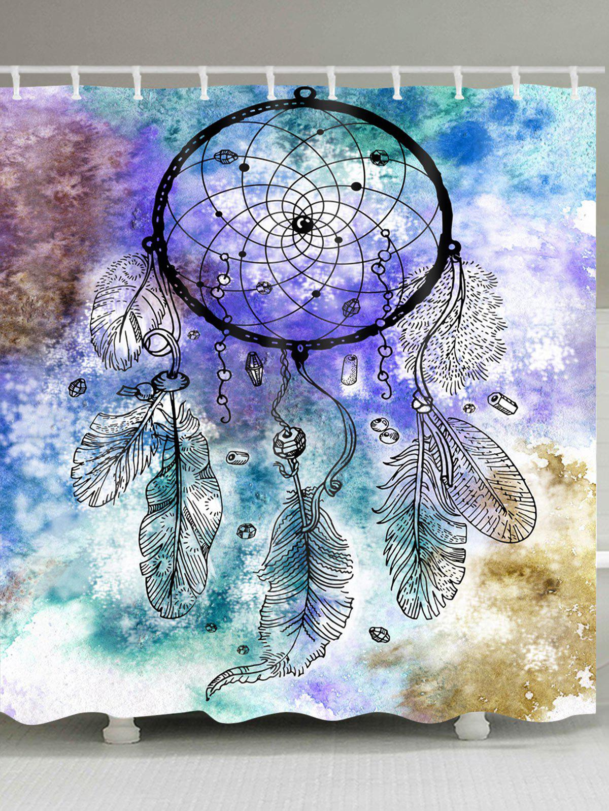 Dreamcatcher Watercolor Painting Print Waterproof Shower Curtain - COLORMIX W59 INCH * L71 INCH