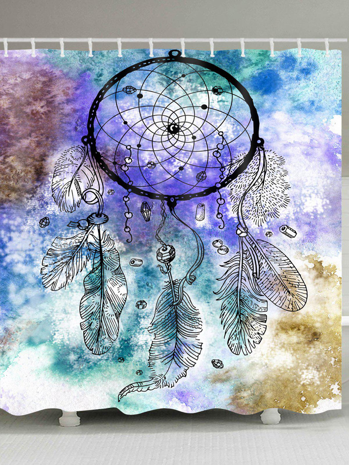 Dreamcatcher Watercolor Painting Print Waterproof Shower Curtain - COLORMIX W71 INCH * L71 INCH