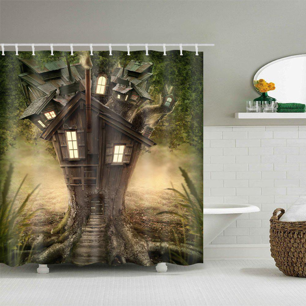 Fantasy Tree House Pattern Waterproof Polyester Shower Curtain - GREEN W71 INCH * L79 INCH
