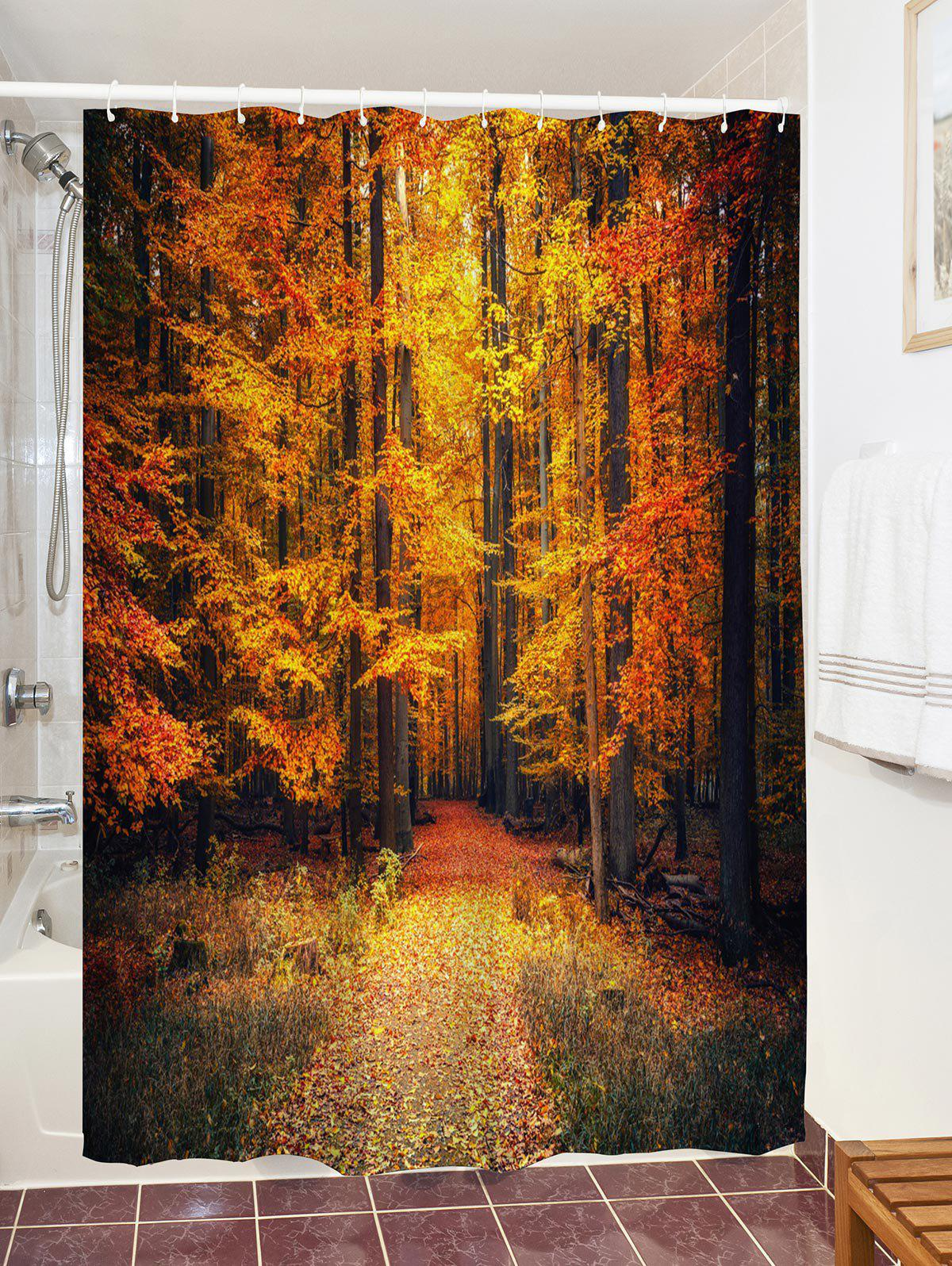 Autumn Forest Printed Waterproof Shower Curtain - GOLD BROWN W71 INCH * L79 INCH