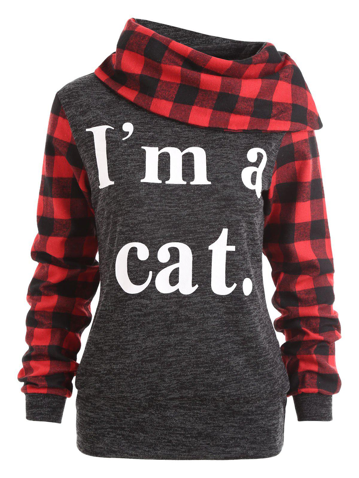 I am A Cat Plaid Insert Sweatshirt - DEEP GRAY L