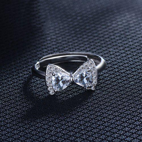 Rhinestoned Bowknot Finger Ring - SILVER ONE-SIZE