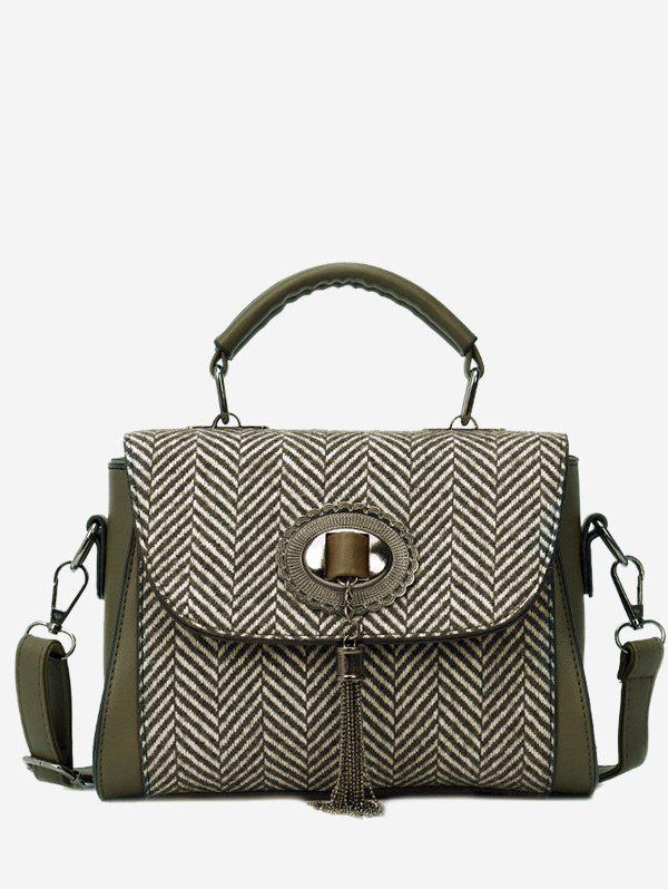 Chain Tassels Zigzag Patterned Handbag - GREEN
