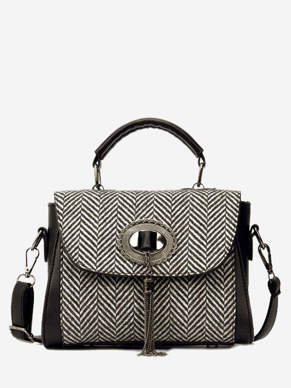 Chain Tassels Zigzag Patterned Handbag - BLACK