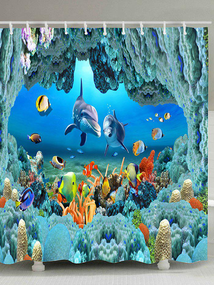 Underwater World Pattern Waterproof Polyester Bath Curtain - BLUE W59 INCH * L71 INCH