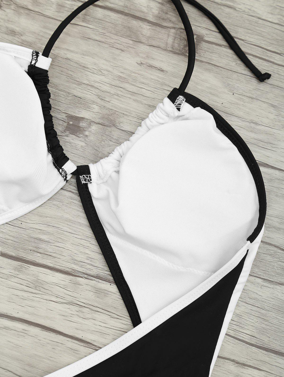 Backless Two Tone Cut Out Swimsuit - WHITE/BLACK L