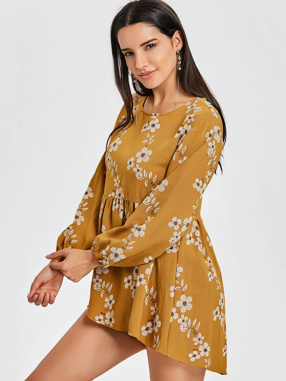 High Low Floral Mini Dress - YELLOW S