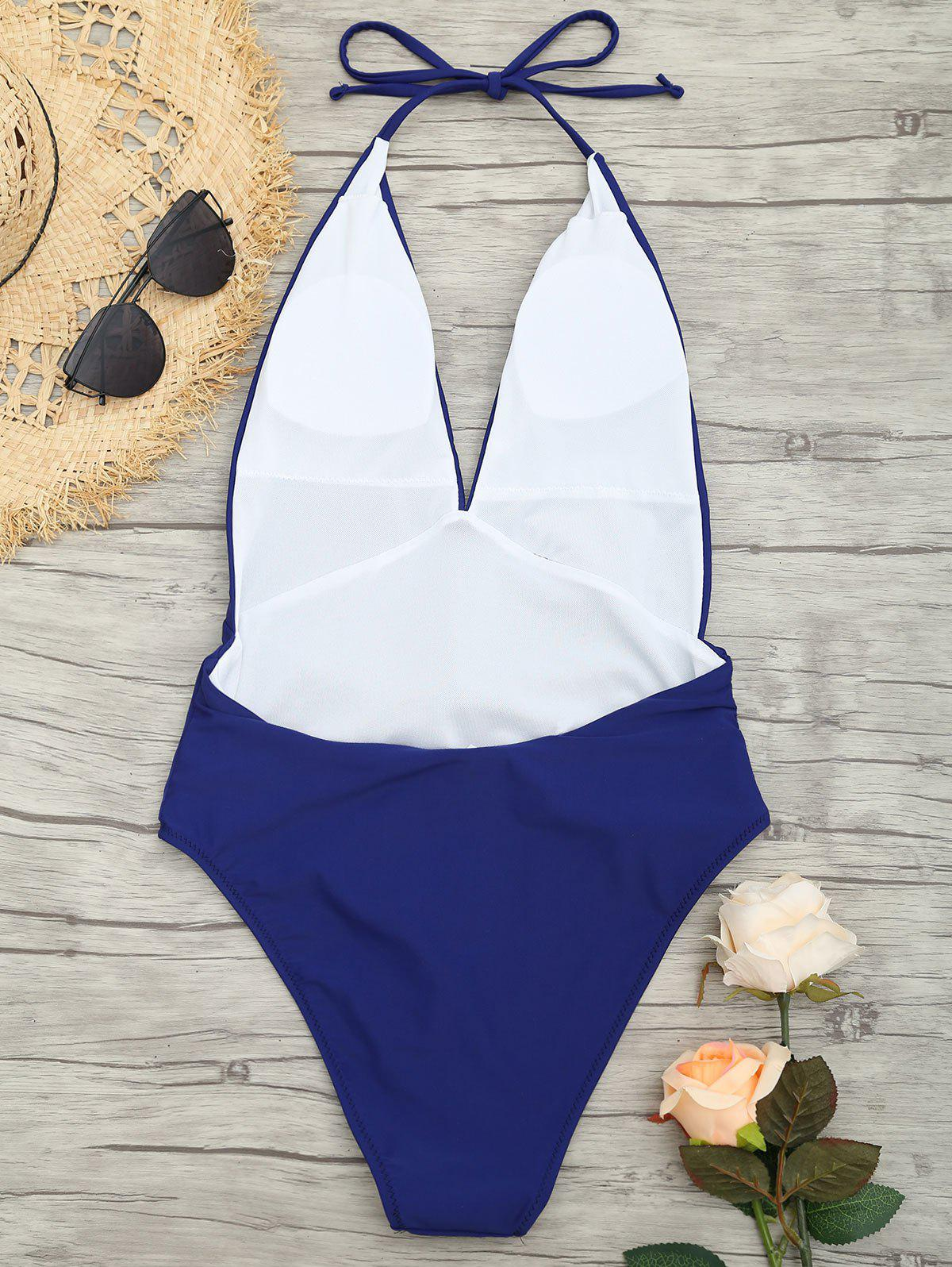 Plunge Front Backless Tied Swimsuit - DEEP BLUE 2XL