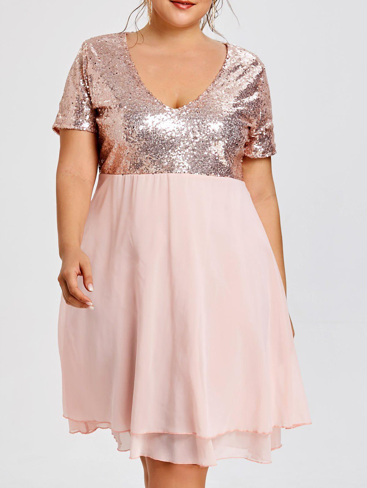 Plus Size Sparkly Sequin Homecoming Dress v neck a line plus size homecoming dress