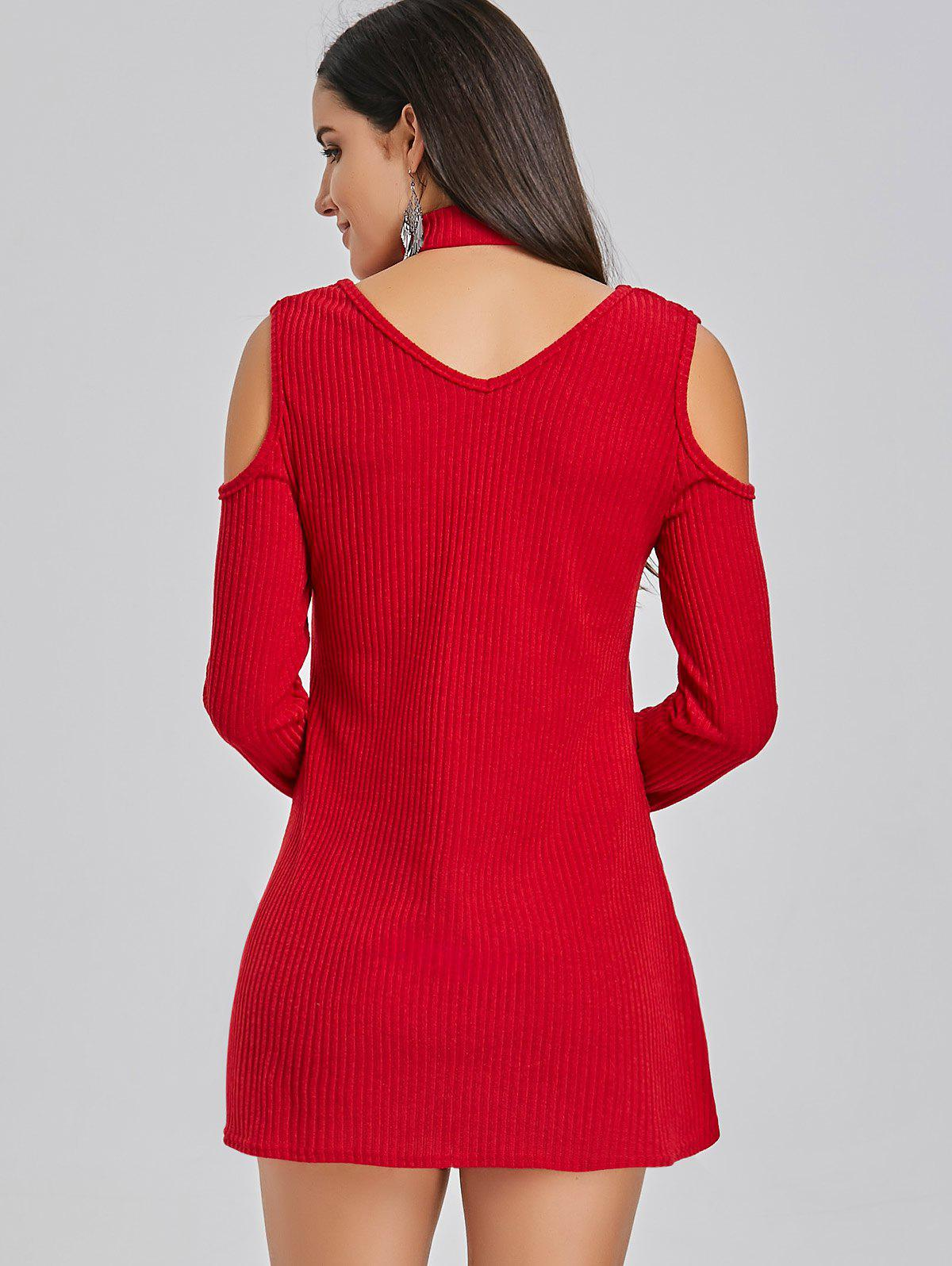 Mini Cold Shoulder Sweater Dress - RED L