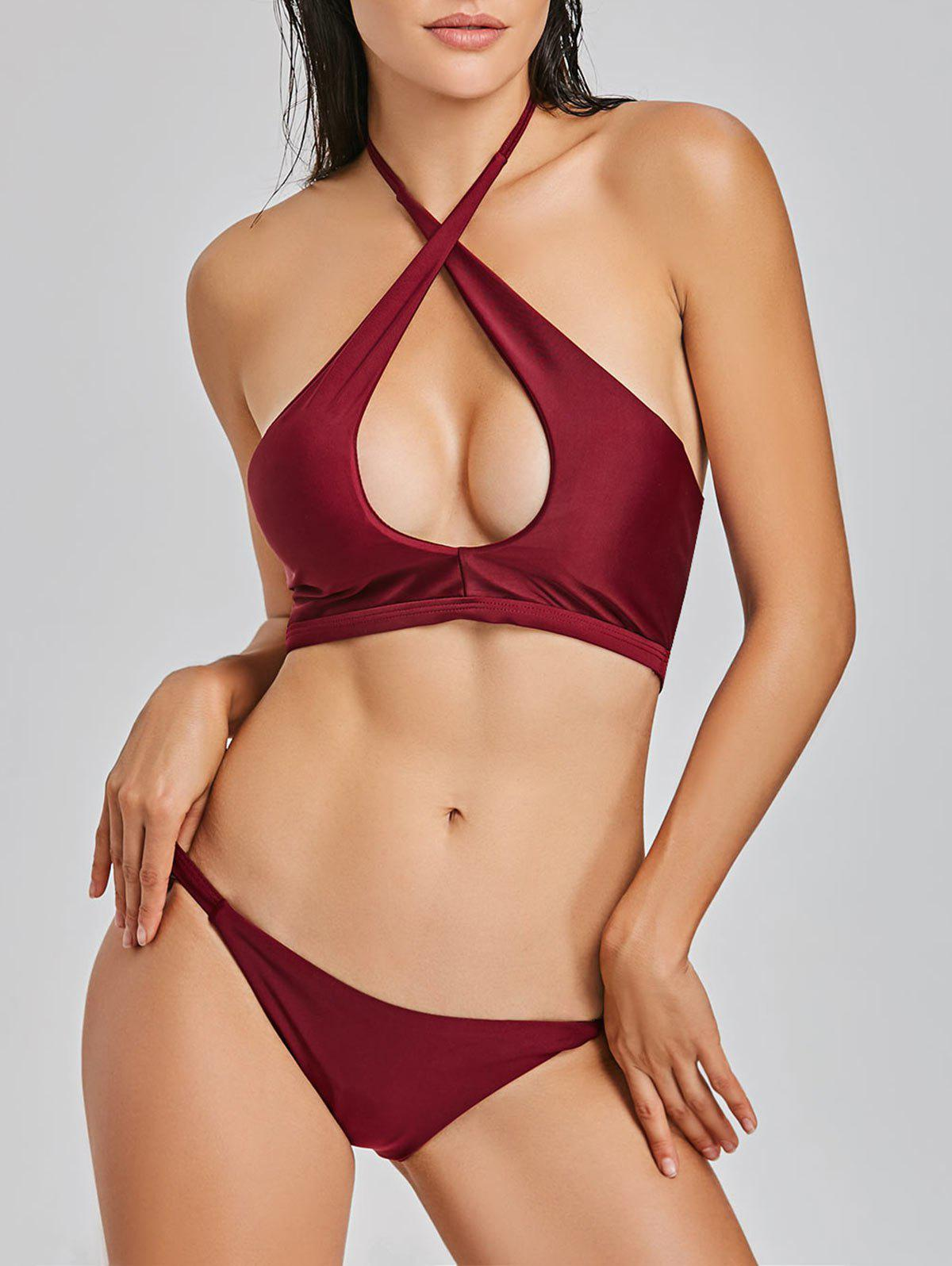 G-string Halter Keyhole Bikini Set - WINE RED M