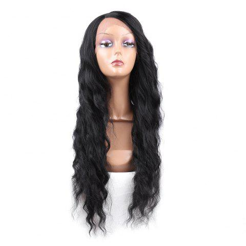 Long Side Parting Wavy Heat Resistant Synthetic Lace Front Wig - BLACK