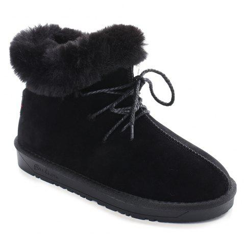 Round Toe Lace Up Stitching Snow Boots - BLACK 36